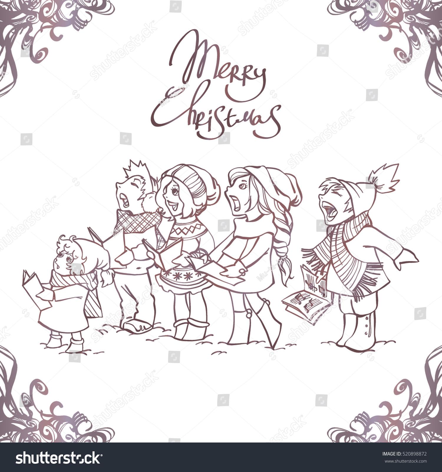 Children Choir Funny Kids Singing Christmas Stock Vector Royalty Free 520898872