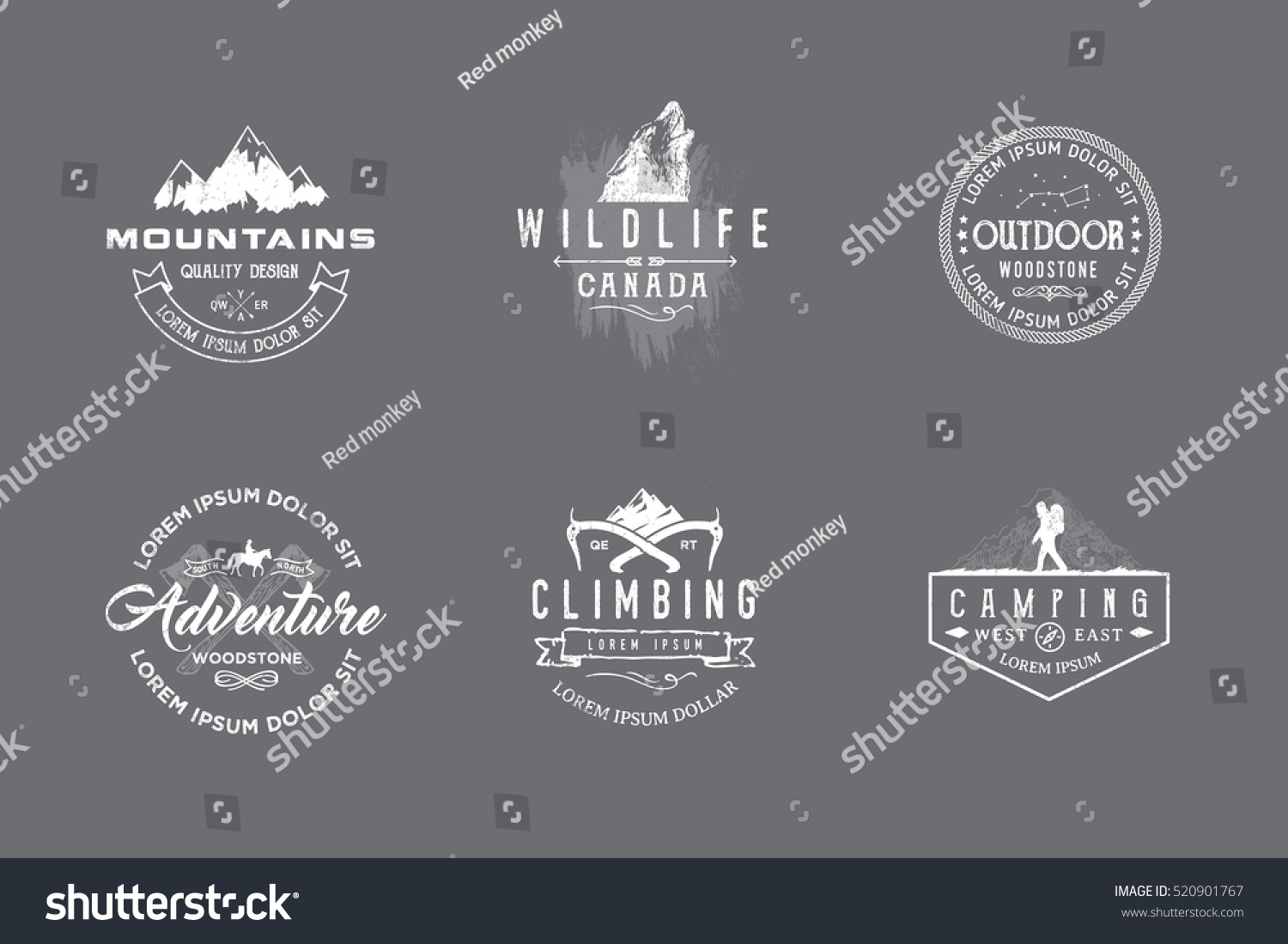 Set of premium labels on the themes of wildlife nature hunting travel wild nature climbing camping life in the mountains survival Retro vintage casual design #15