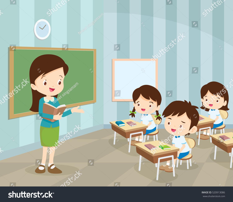 Study Teaching: Teacher Teaching Students Classroom World Book Stock