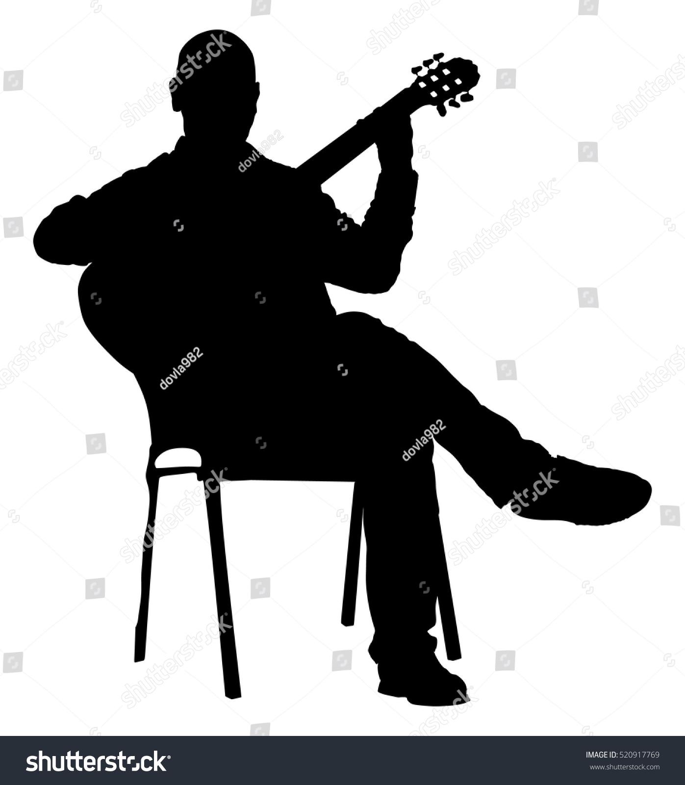Music Man Sitting Chair Guitar Stock Vector