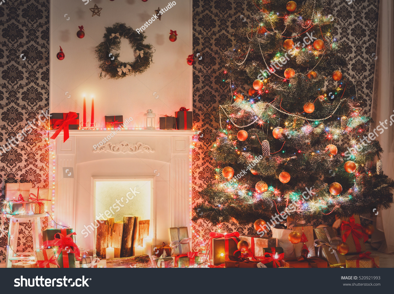 beautiful christmas decorations. Christmas Living Room Decorations. Beautiful Xmas Lights Garland, Decorated Tree Near Fireplace. Decorations