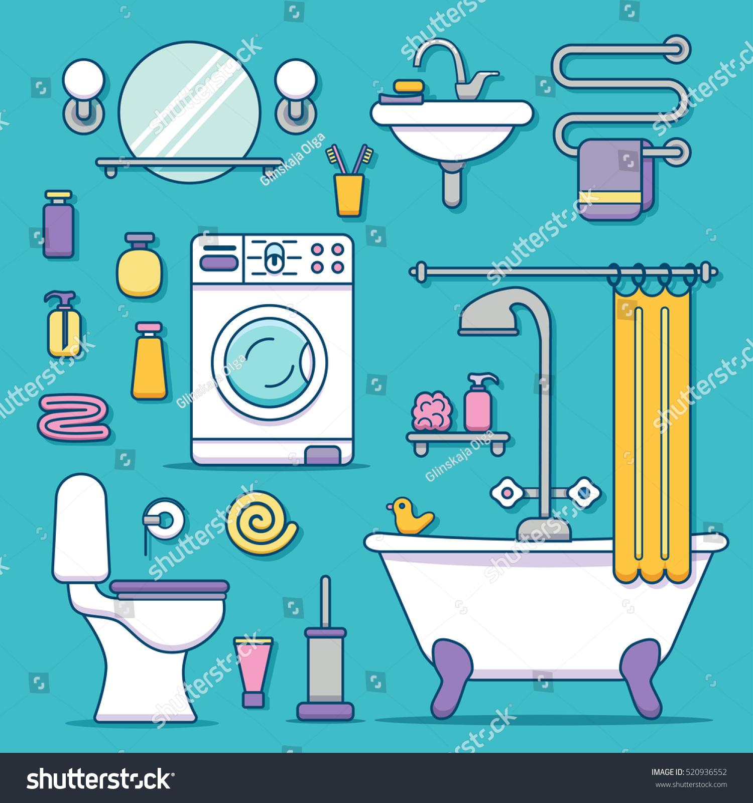 bath equipment icons made modern line stock vector 520936552 shutterstock. Black Bedroom Furniture Sets. Home Design Ideas
