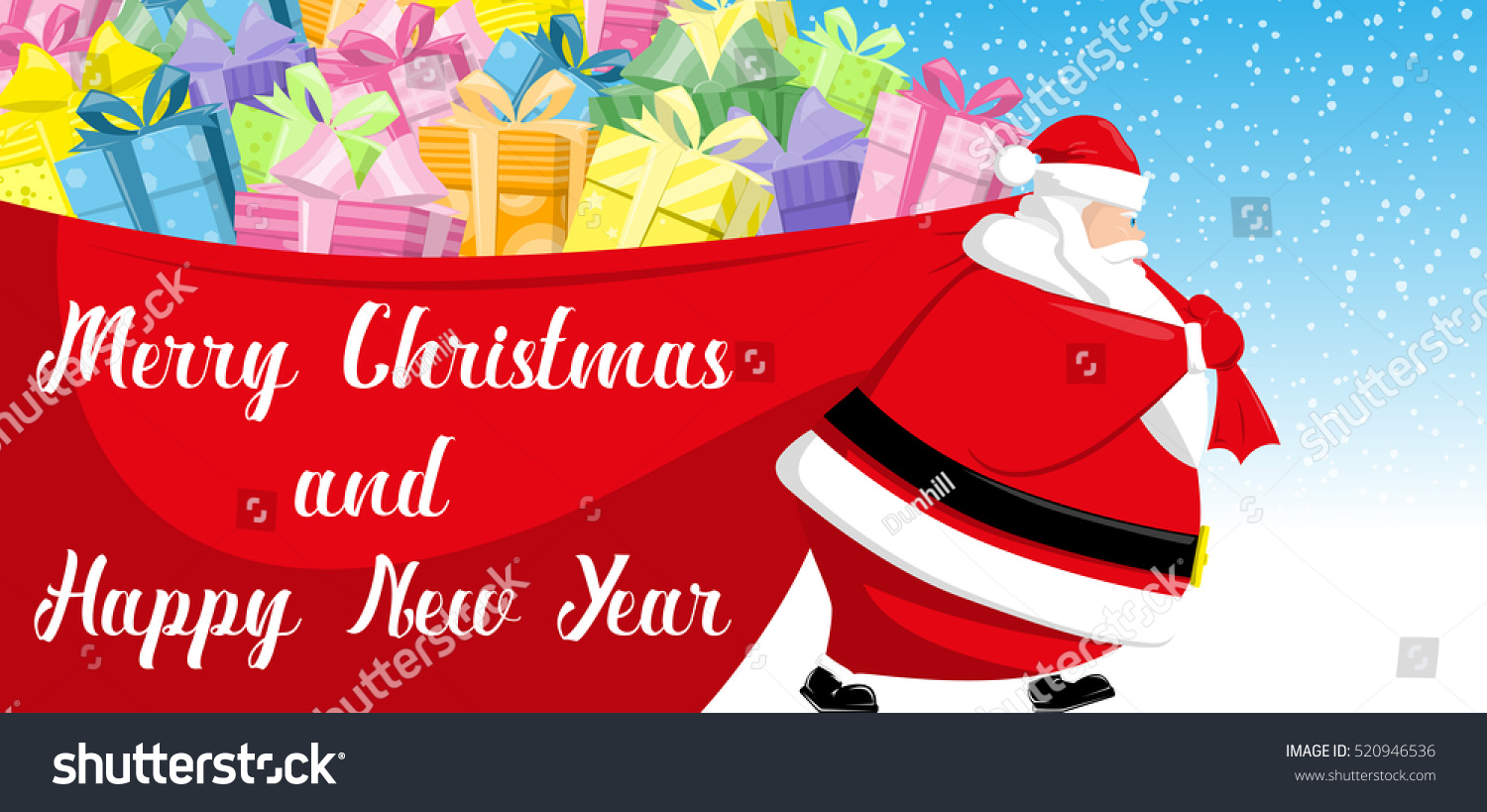 merry christmas and happy new year banner cute santa claus goes with big red bag