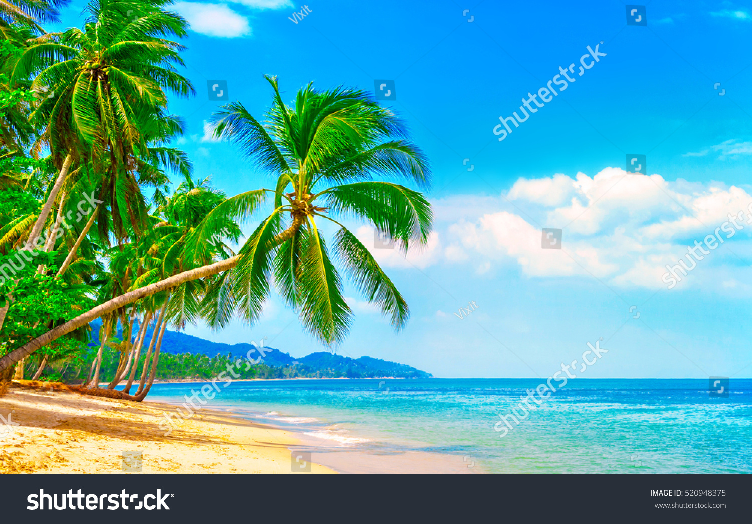 Beautiful Beach View Nice Tropical Beach Stock Photo