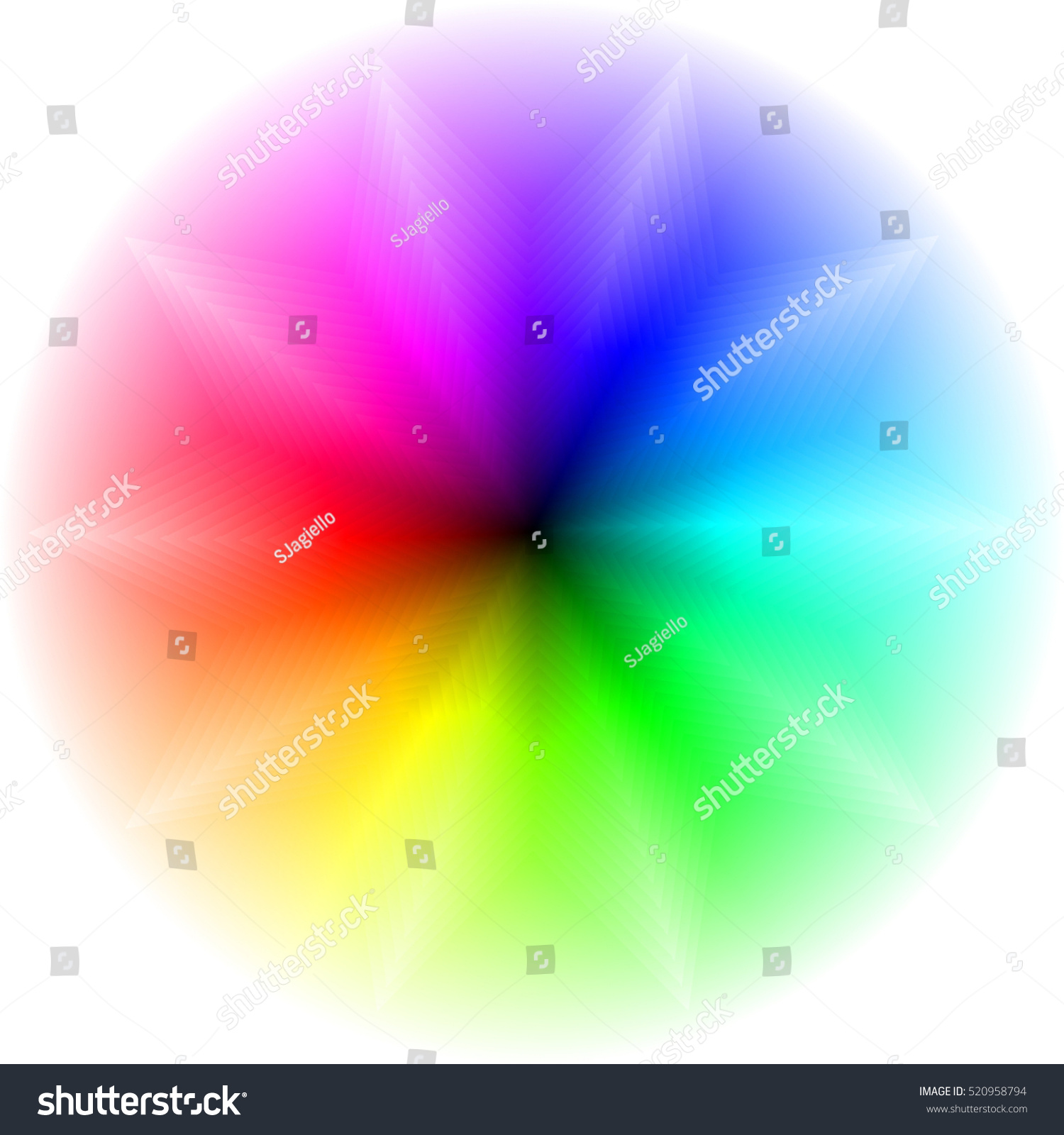 Color Wheel Palette Radial Gradient Star Stock Illustration