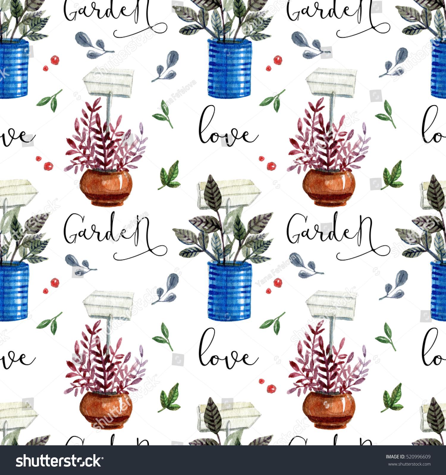 Watercolor Pattern Flower Potslove Home Gardenwatercolor Stock ...