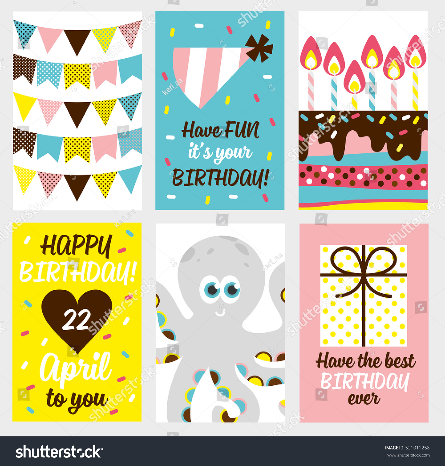 6 Birthday Card Templates: Set 6 Cute Creative Cards Templates Stock Vector 521011258