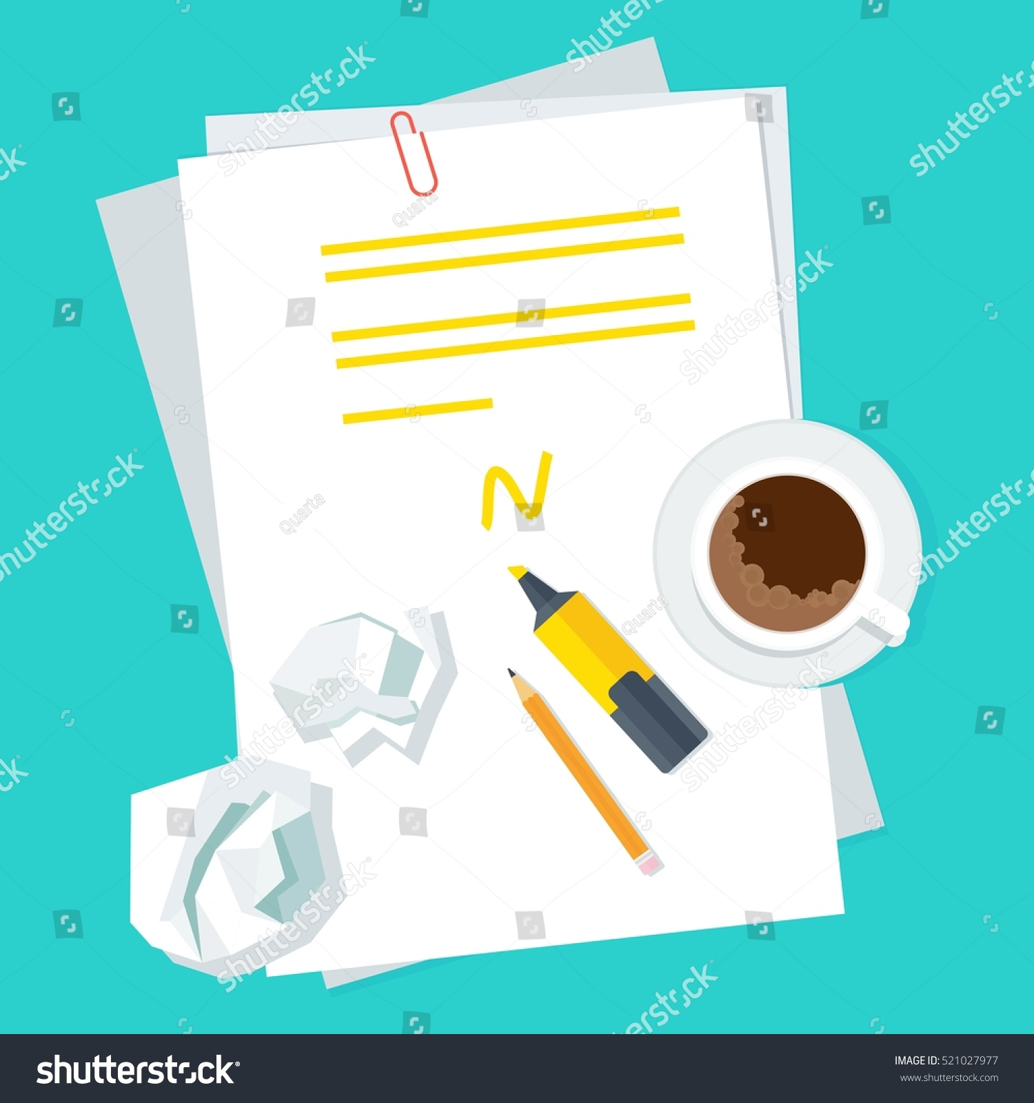 Workplace Writer Notes On Sheet Paper Stock Vector