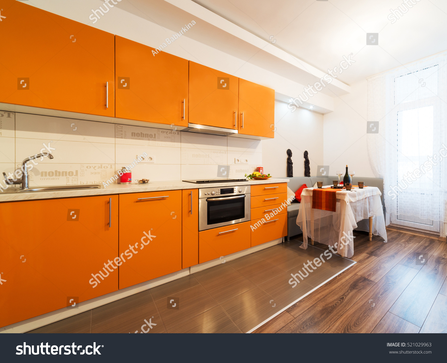 Modern Design Kitchen Orange Elements Stock Photo 521029963 Shutterstock