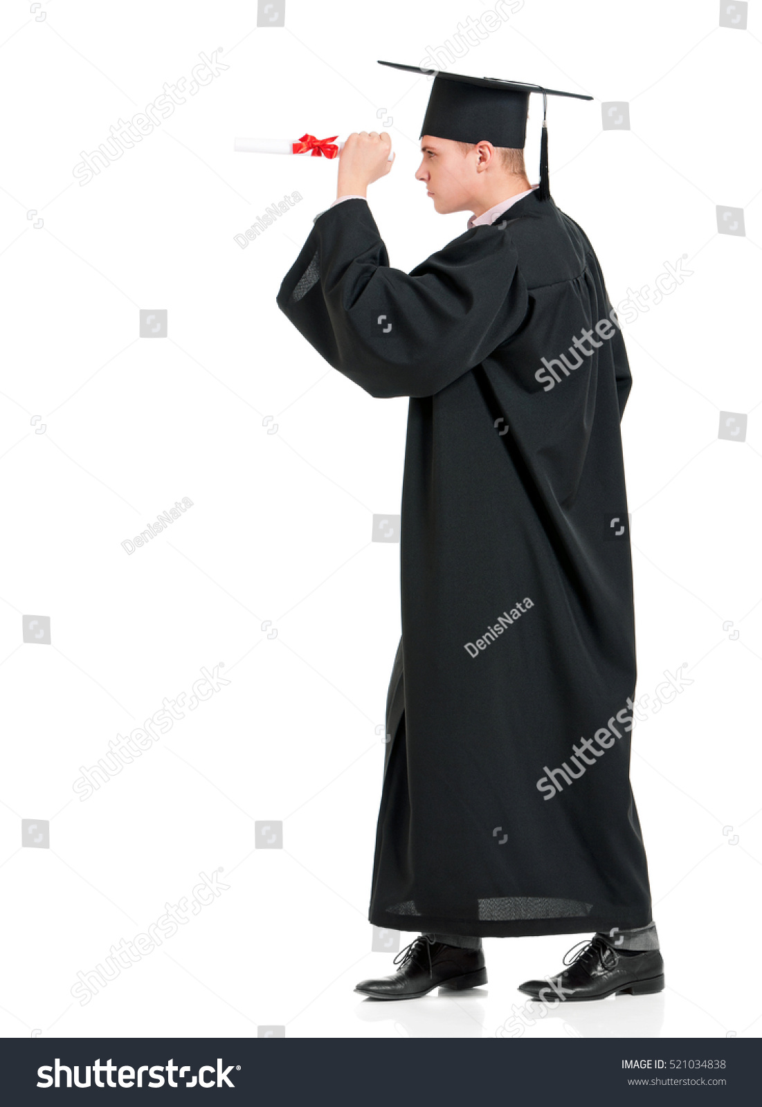 Portrait Man Academic Gown Holding Diploma Stock Photo (Safe to Use ...