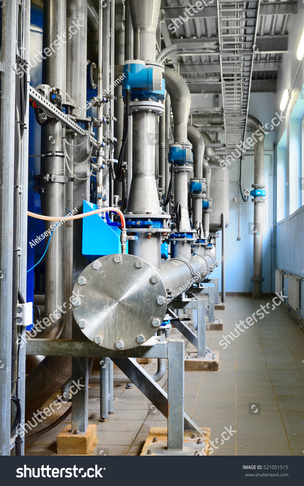 Industrial Water Treatment : Large industrial water treatment boiler room stock photo