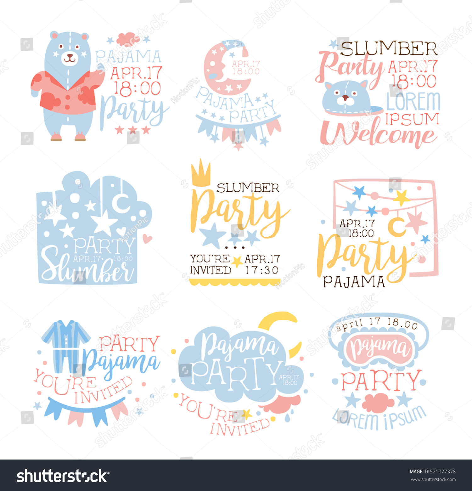 Blue Pink Girly Pajama Party Invitation Stock Vector (Royalty Free ...