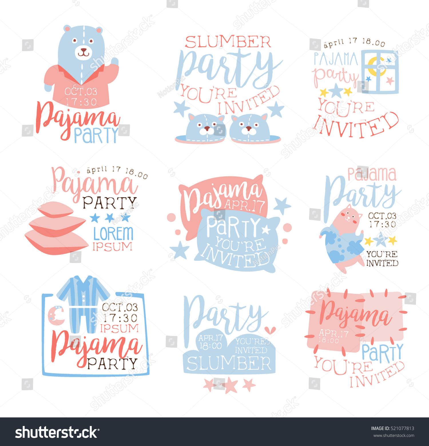 Pink Blue Girly Pajama Party Invitation Stock Vektorgrafik