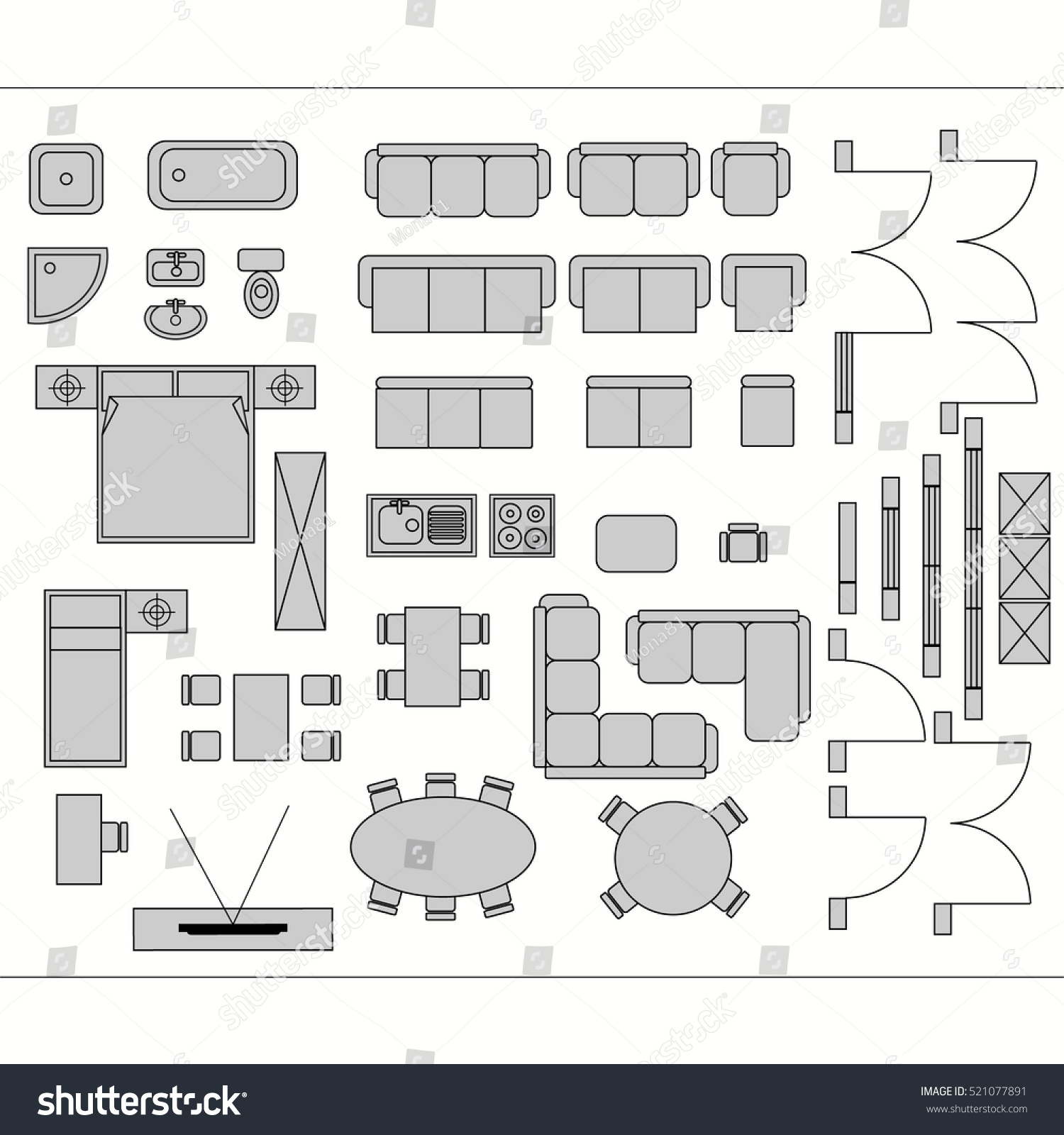 Figure 19 symbols for materials contemporary architecture drawing architectural drawing for planning construction and home improvement symbols used furniture and architecture plans icons biocorpaavc Gallery