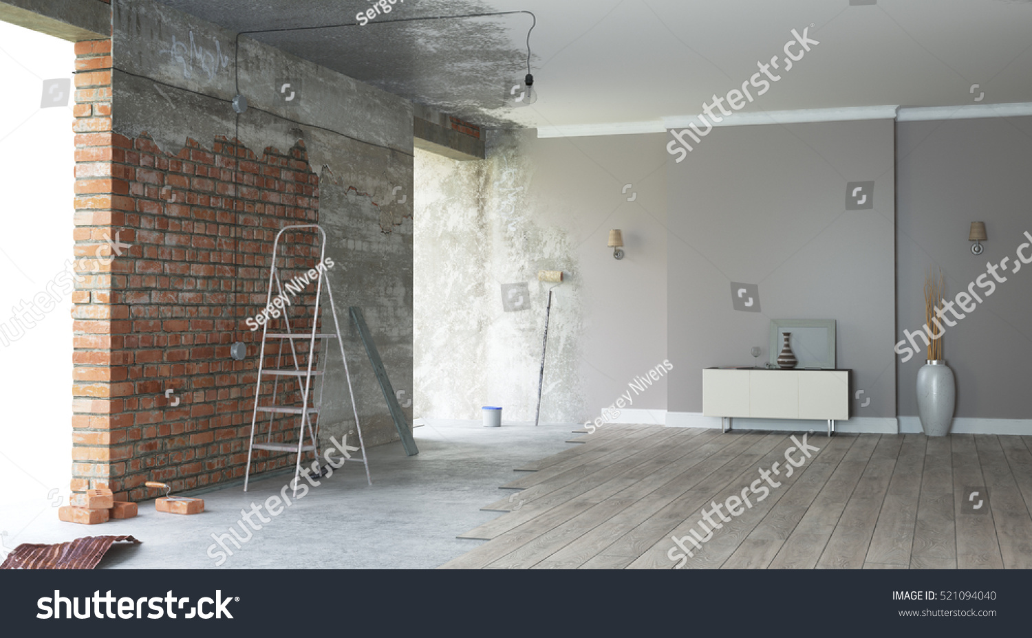Renovation interior 3d render stock photo 521094040 for Grand designs 3d renovation interior