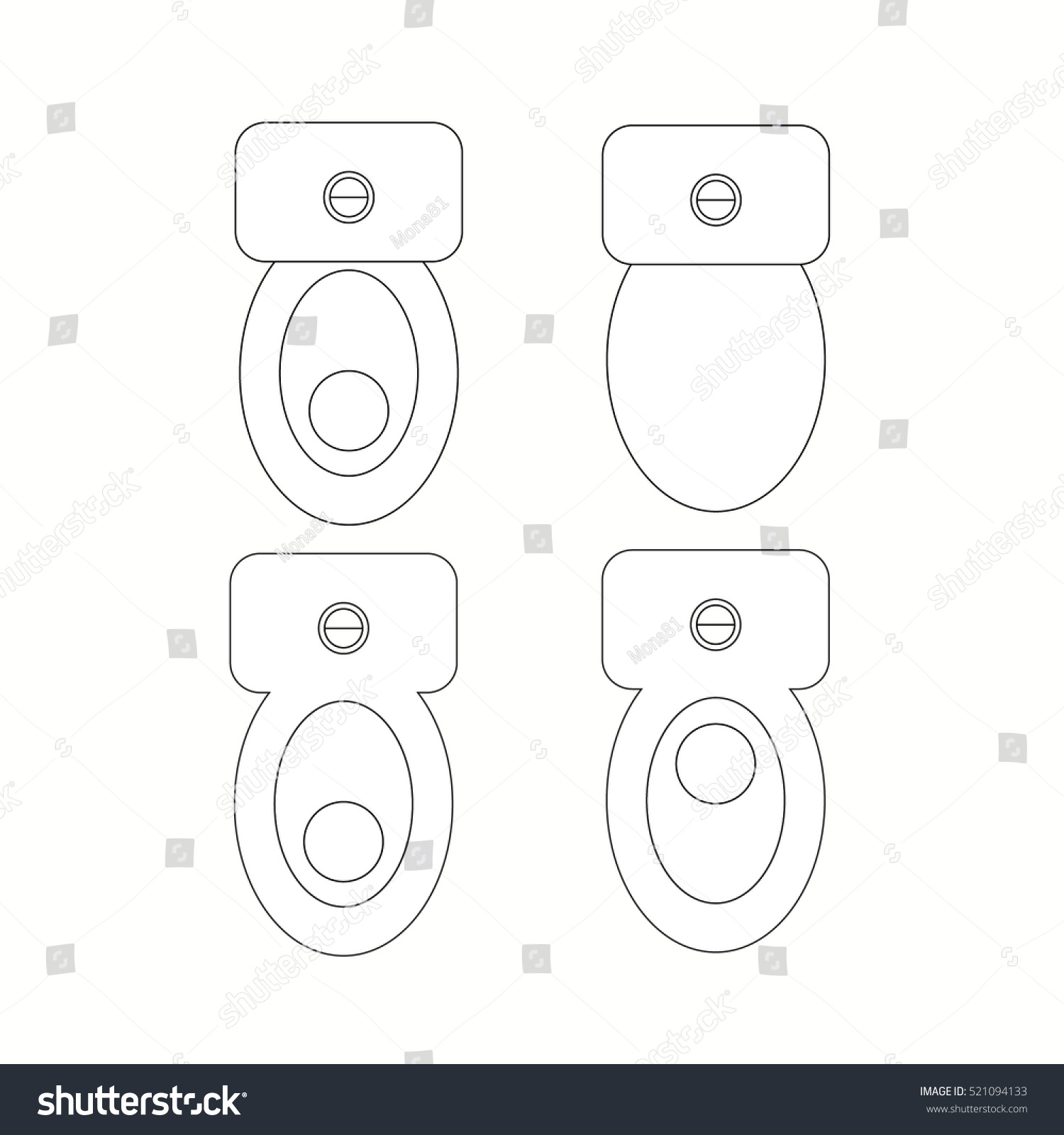 Architect Toilet Symbol : Top view toilet furniture symbols used stock vector