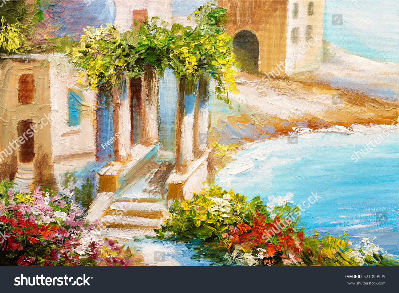 oil painting house near sea sea stock illustration 521099995