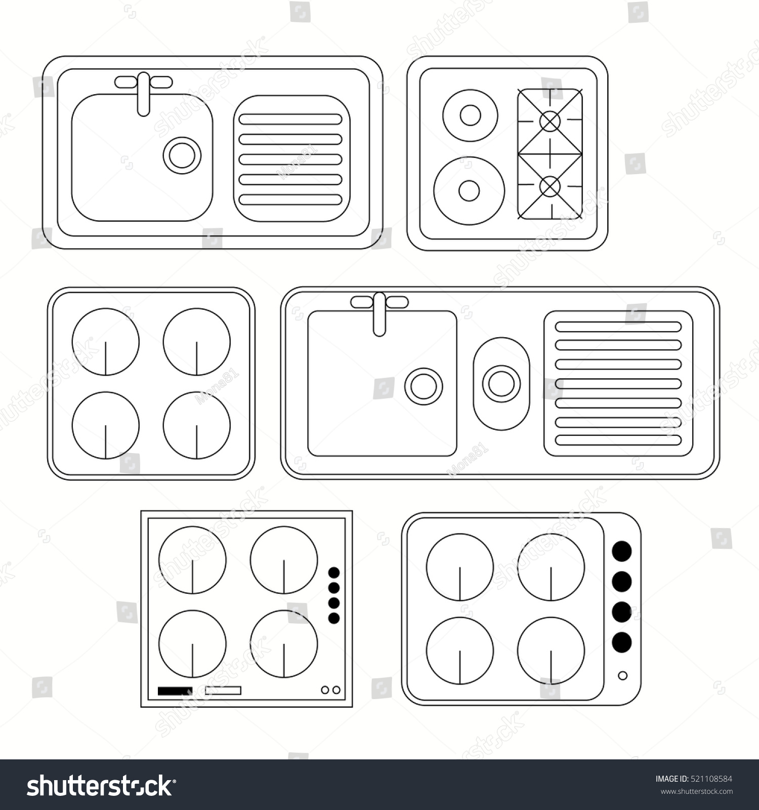 Top View Kitchen Elements Furniture Symbols Stock Vector 521108584 Shutterstock