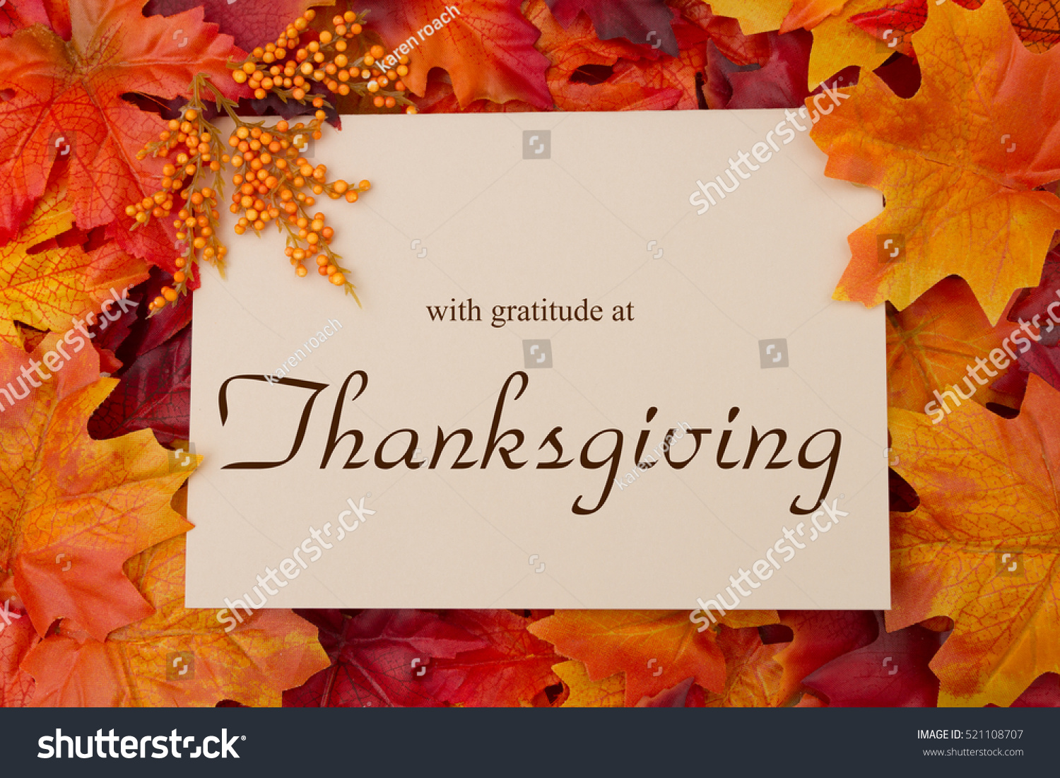 Happy Thanksgiving Message Autumn Leaves Beige Stock Photo Royalty