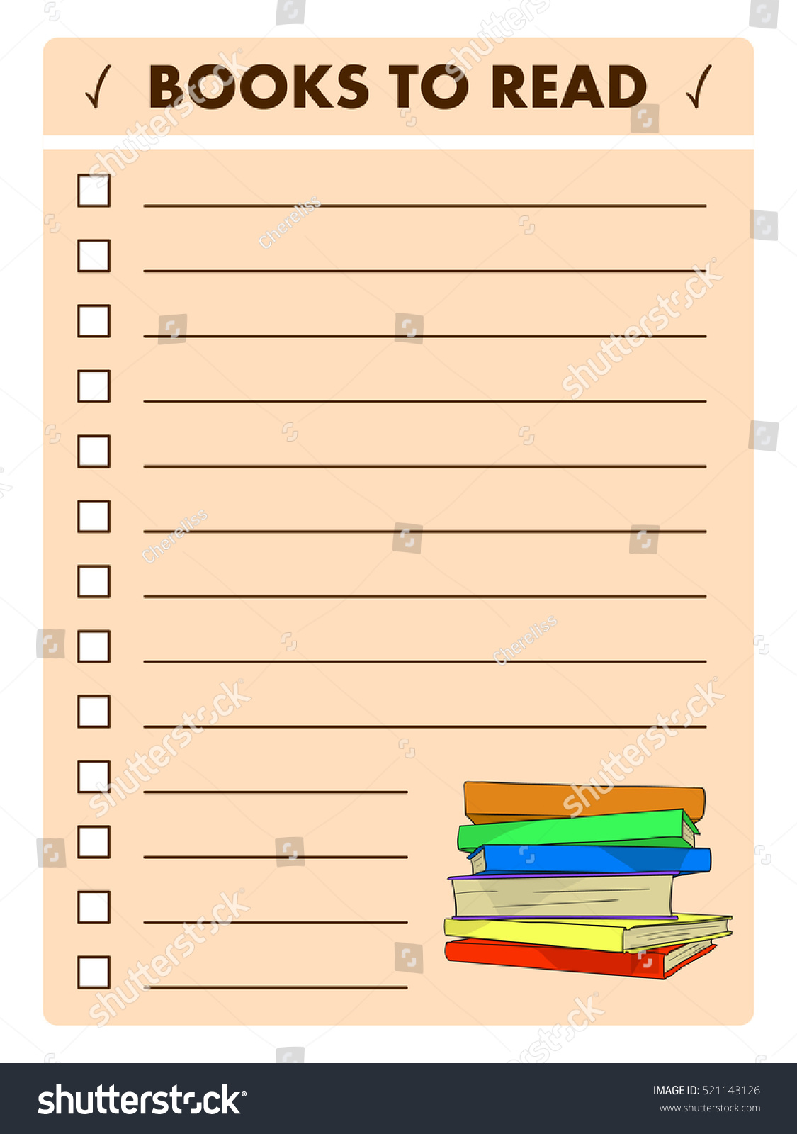 Reading List Template from image.shutterstock.com