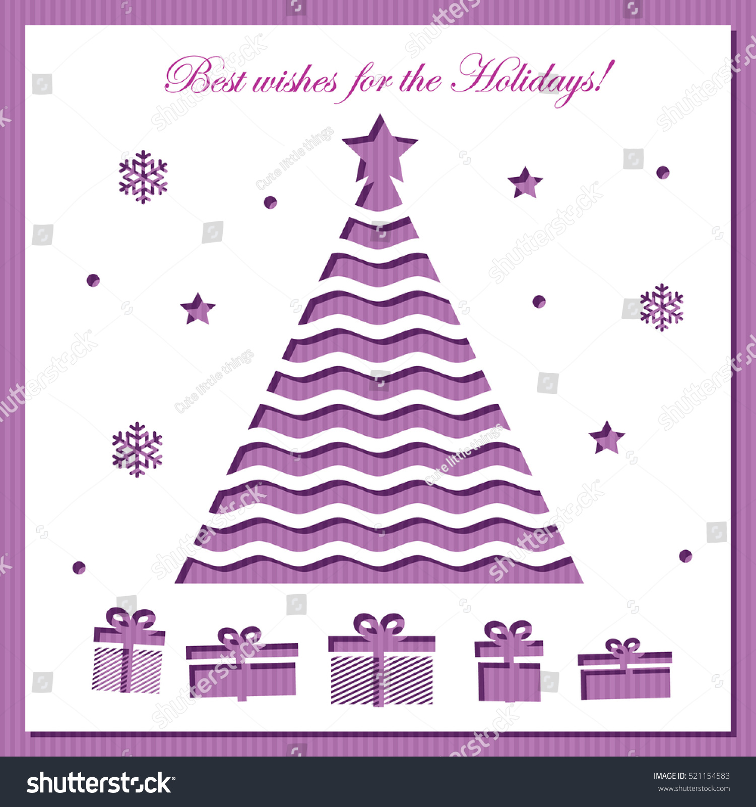 Christmas Card Template Laser Cutting Stock Vector