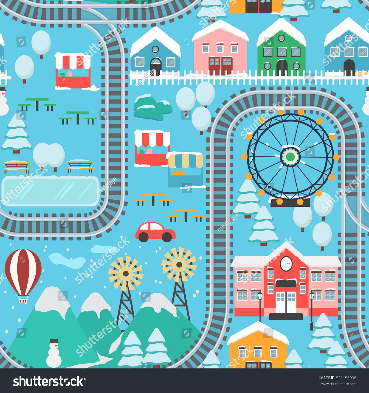 Lovely Snowy City Landscape Train Road Stock Vector