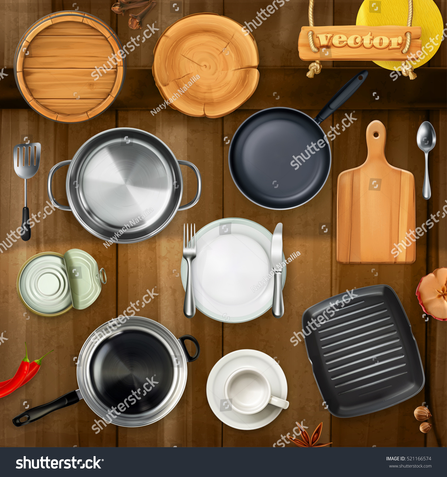Kitchen Set Top View: Kitchen Utensils Pots Pans Plates Top Stock Vector