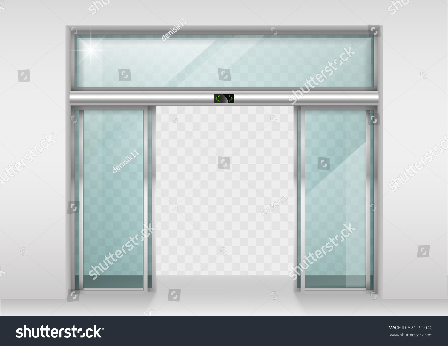 double sliding glass doors with automatic motion sensor entrance to the office train station