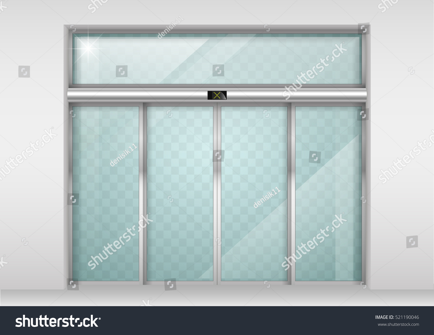 Double sliding glass doors automatic motion stock vector
