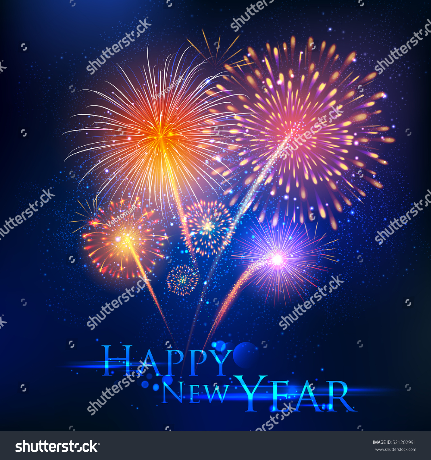 illustration of happy new year celebration abstract starburst seasons greetings background with firework