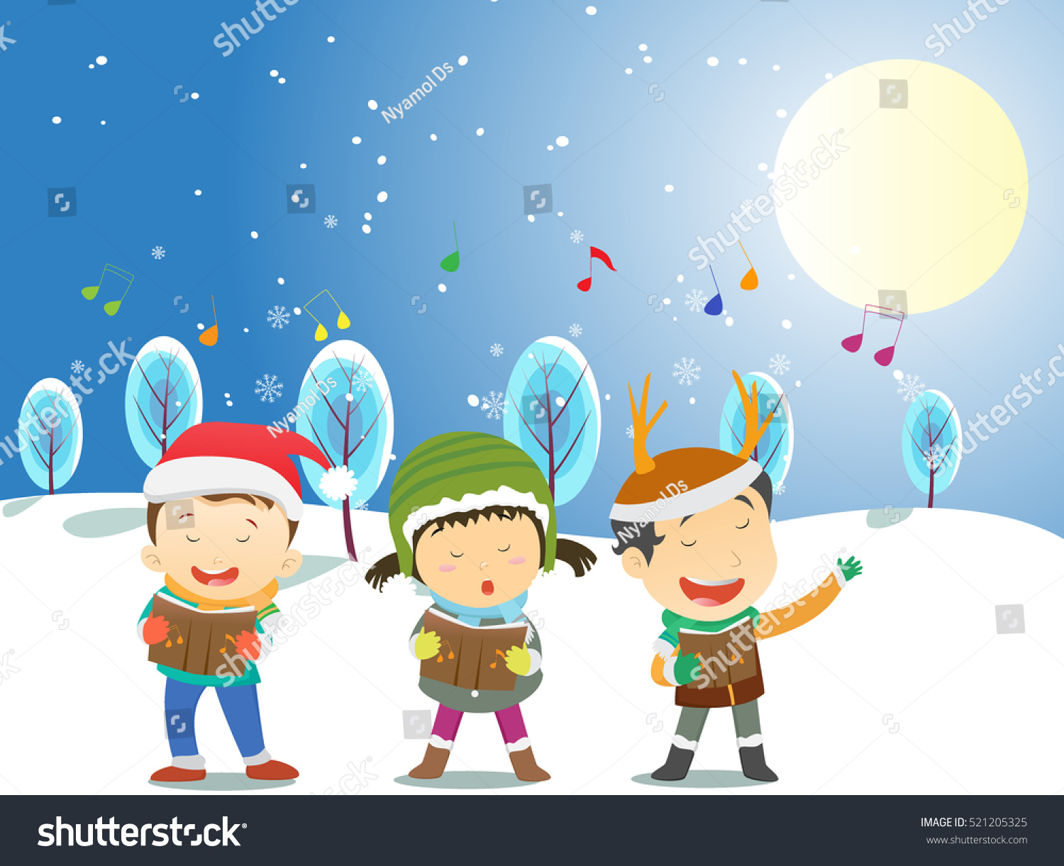 Happy Kids Singing Christmas Carols Stock Vector (Royalty Free ...