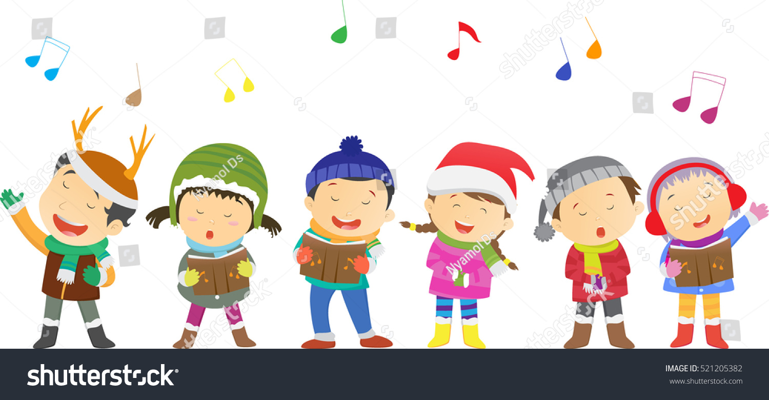 Happy Kids Singing Christmas Carols Stock-Vektorgrafik (Lizenzfrei ...