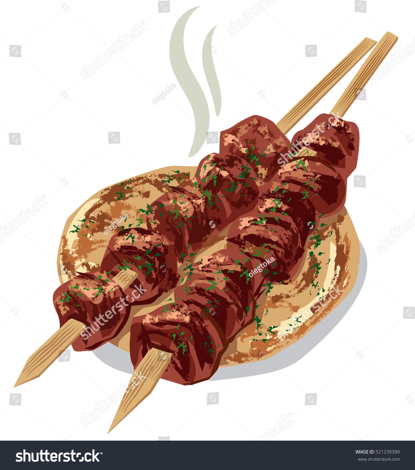 Illustration Grilled Meat Kebab On Pita Stock Vector ...