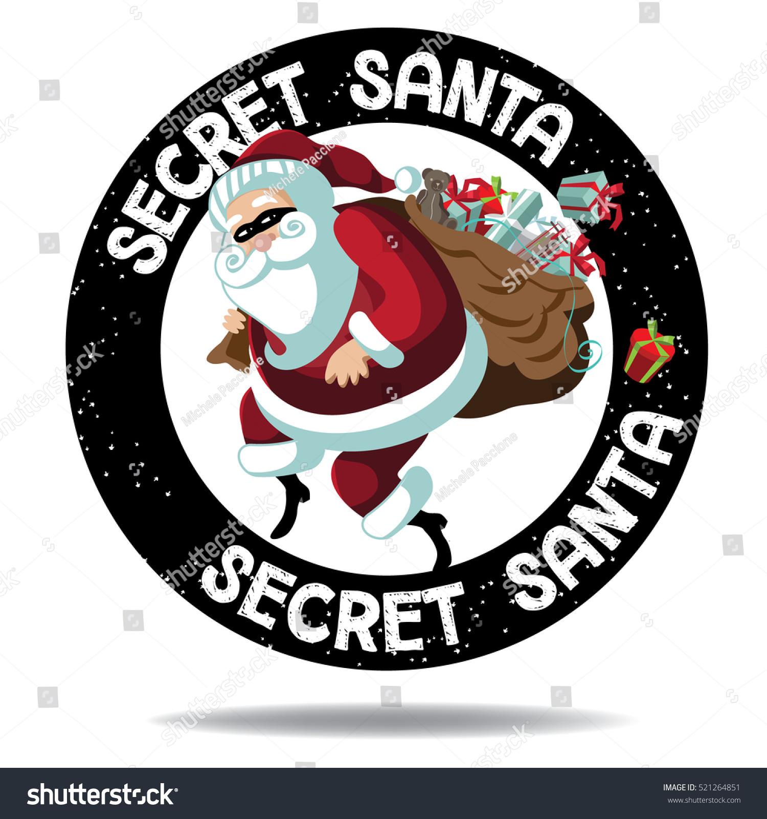 cartoon secret santa stamp icon santa stock vector royalty free rh shutterstock com Secret Santa Template secret santa images clip art