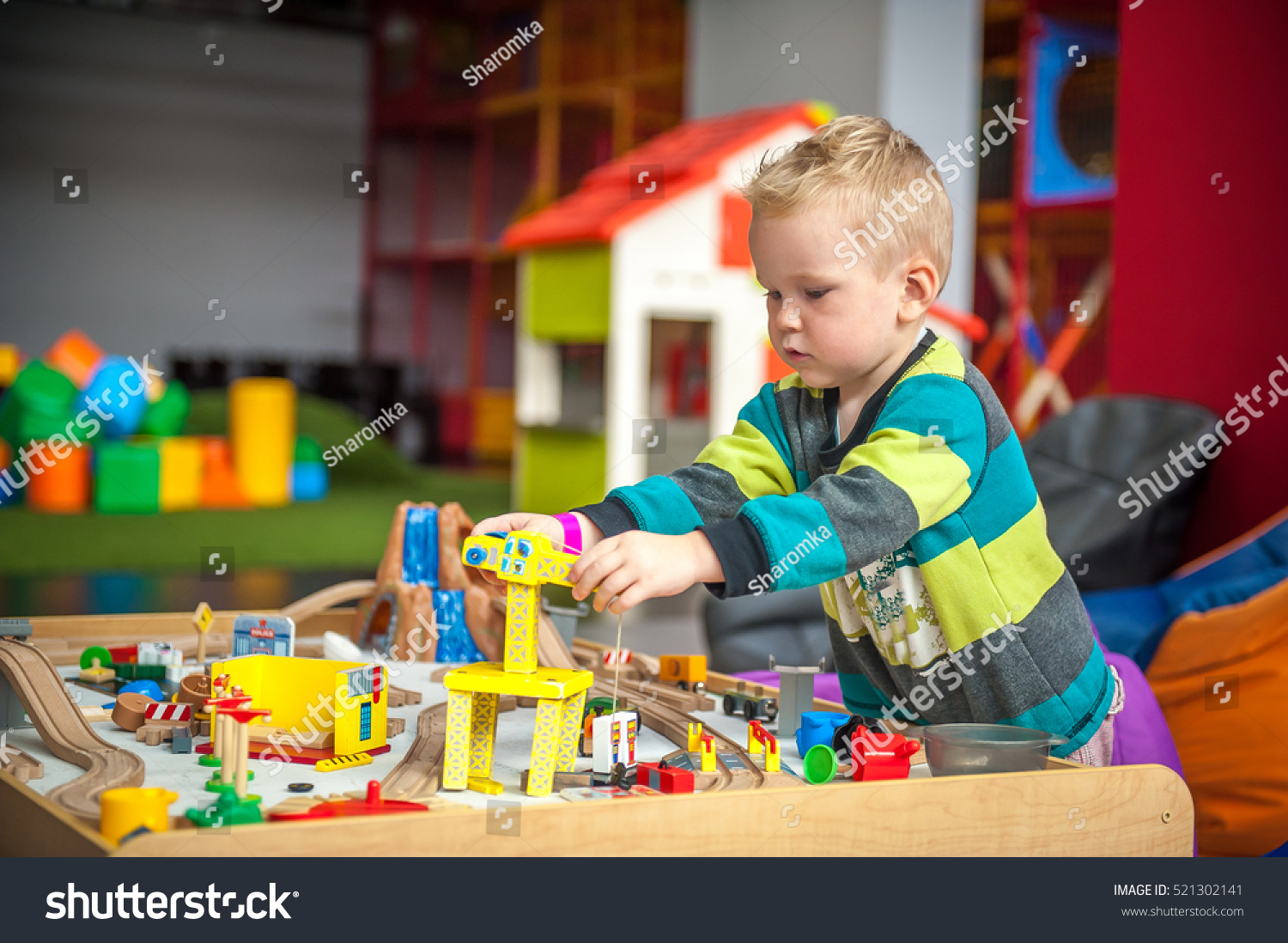 Toys For Preschool Boys : Children play wooden toy build stock photo