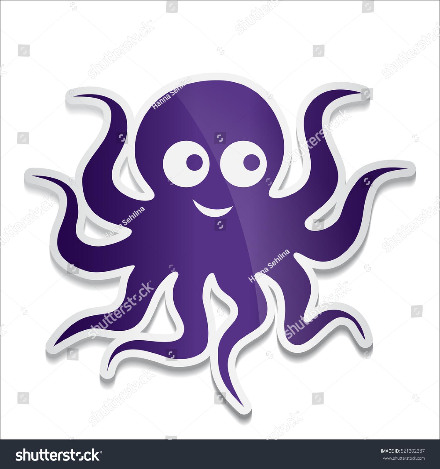 Cartoon Octopus Vector Illustration On White Stock-Vektorgrafik ...