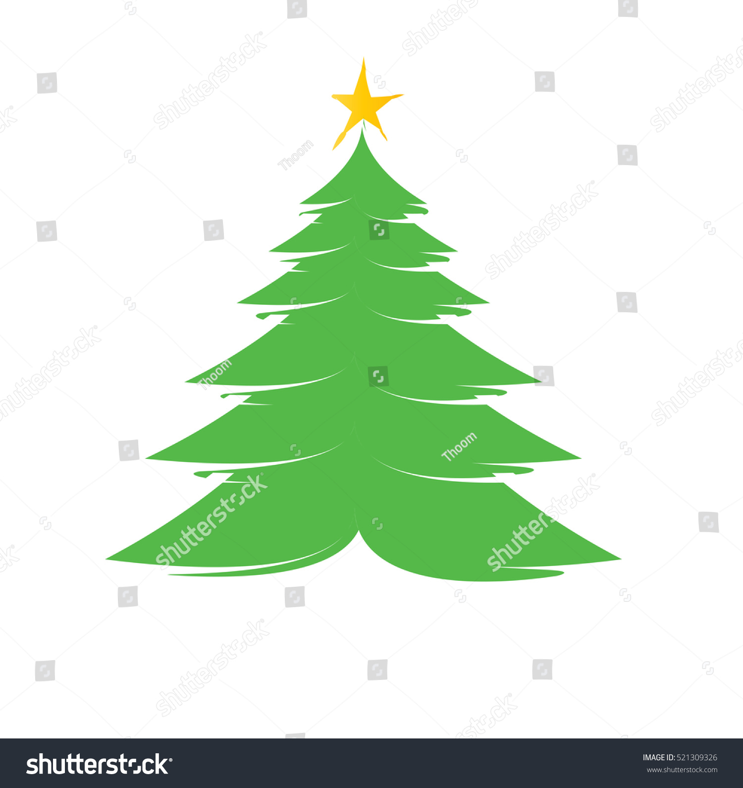 Christmas Tree Color Illustration Star Simple Stock Vector 521309326 ...