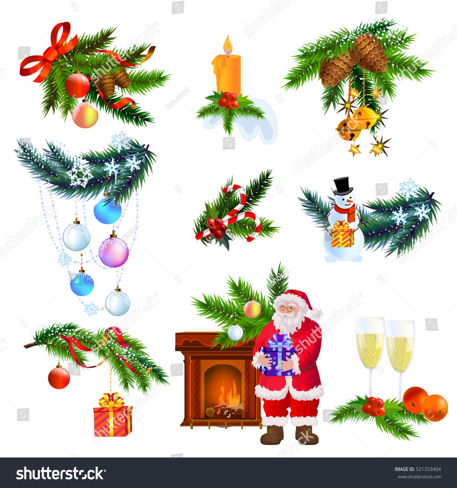 Christmas Tree Decoration Elements: Christmas New Year Decoration Elements Christmas Stock