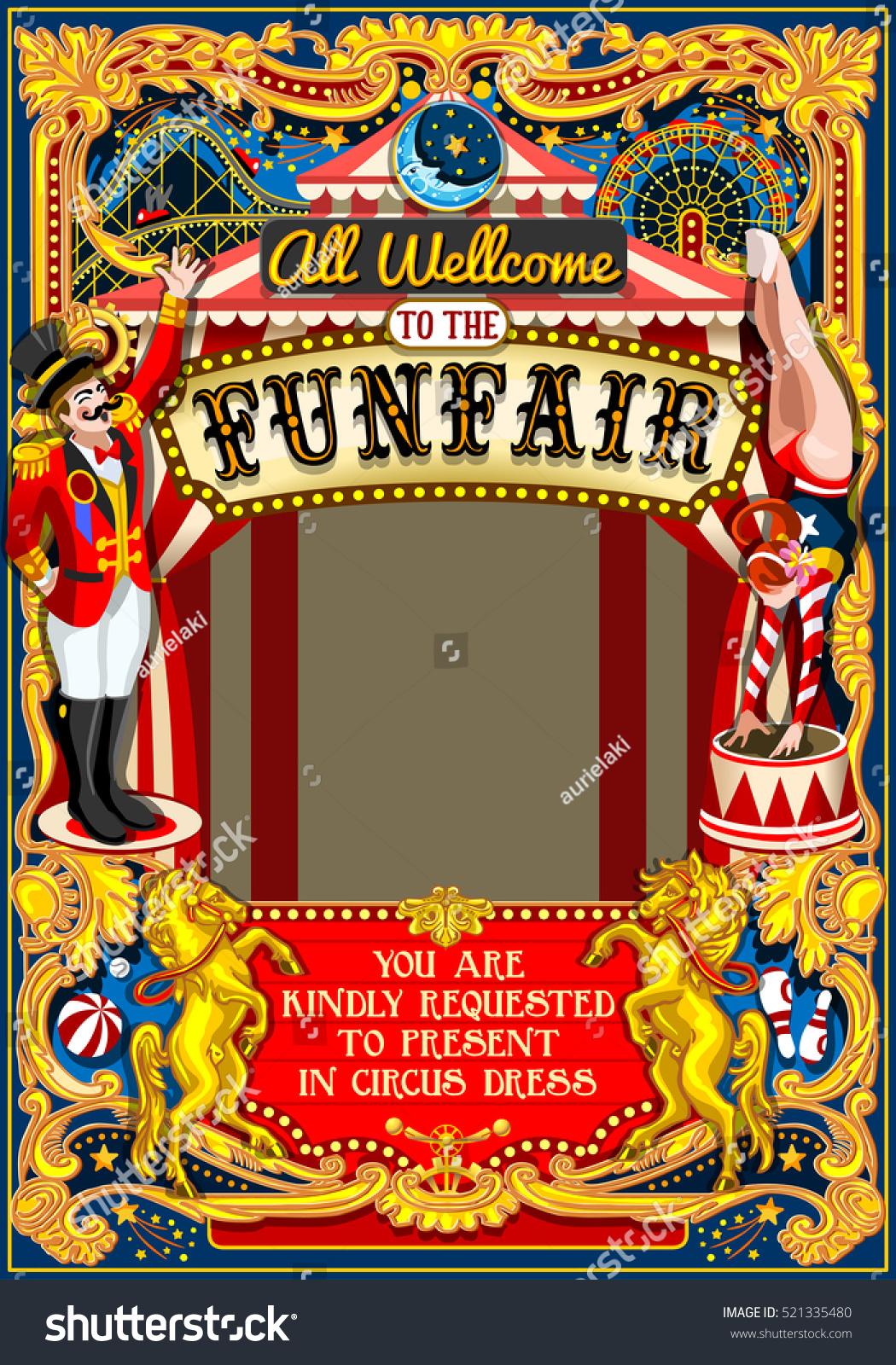 Circus Juggler Fairground Show Retro Template Stock Illustration ...