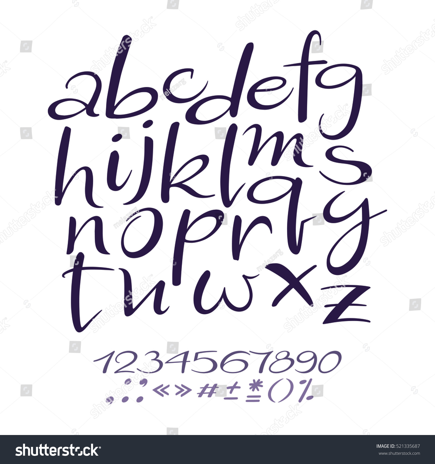 Vector Alphabet Beautiful Handwritten Letters And Numbers