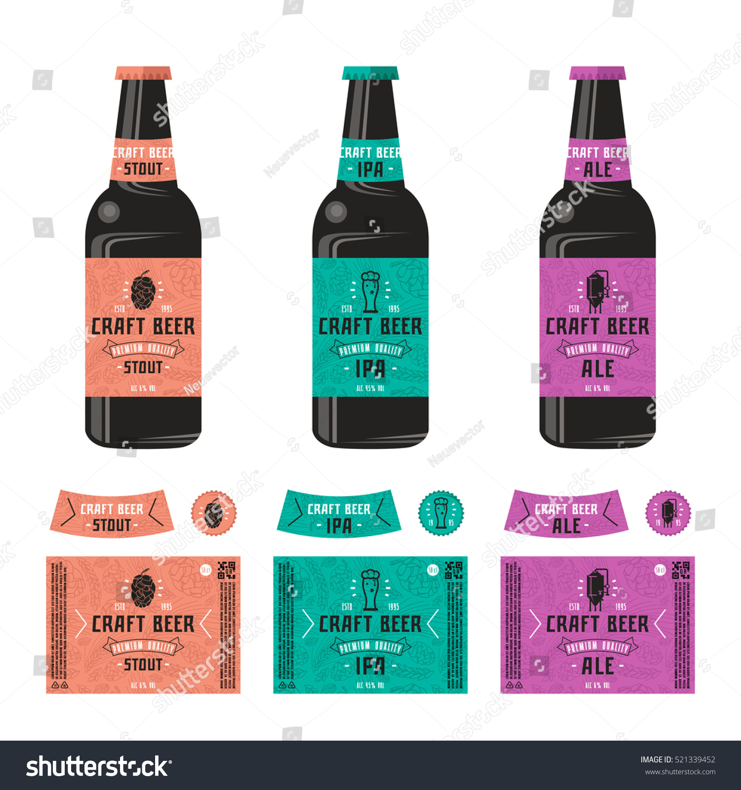 Set Templates Label Craft Beer Print Stock Vector Royalty Free