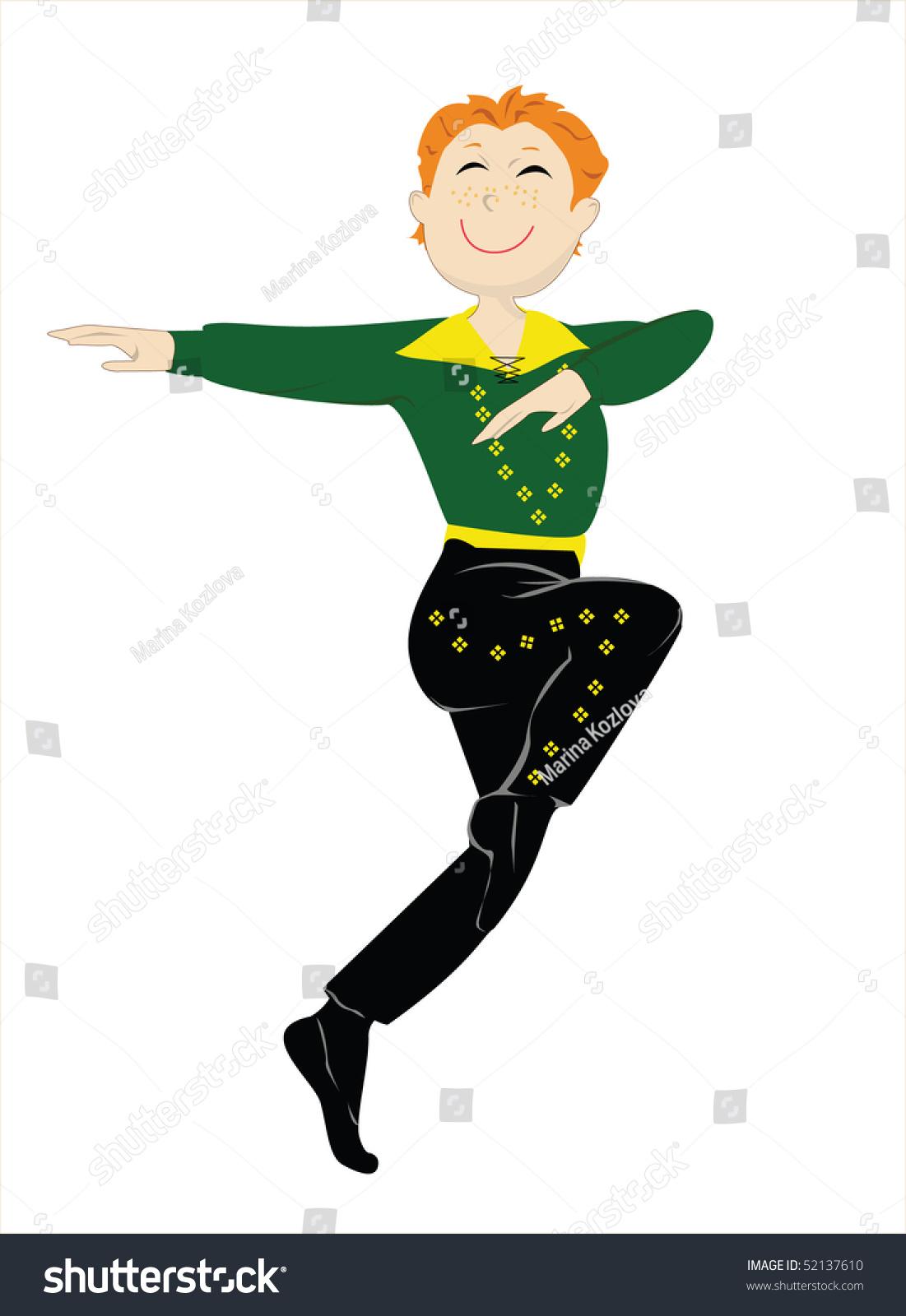 Little Irish Dancer Red Hair Green Stock Vector 52137610 ...