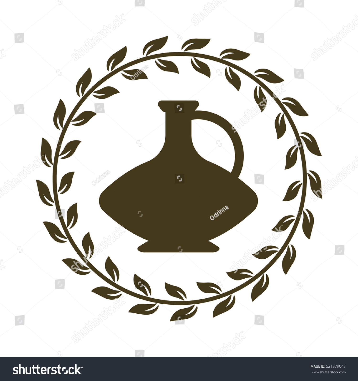 Ancient logo jug olive leaves greek stock vector 521379043 ancient logo with jug and olive leaves greek vase with olive oil or wine isolated reviewsmspy
