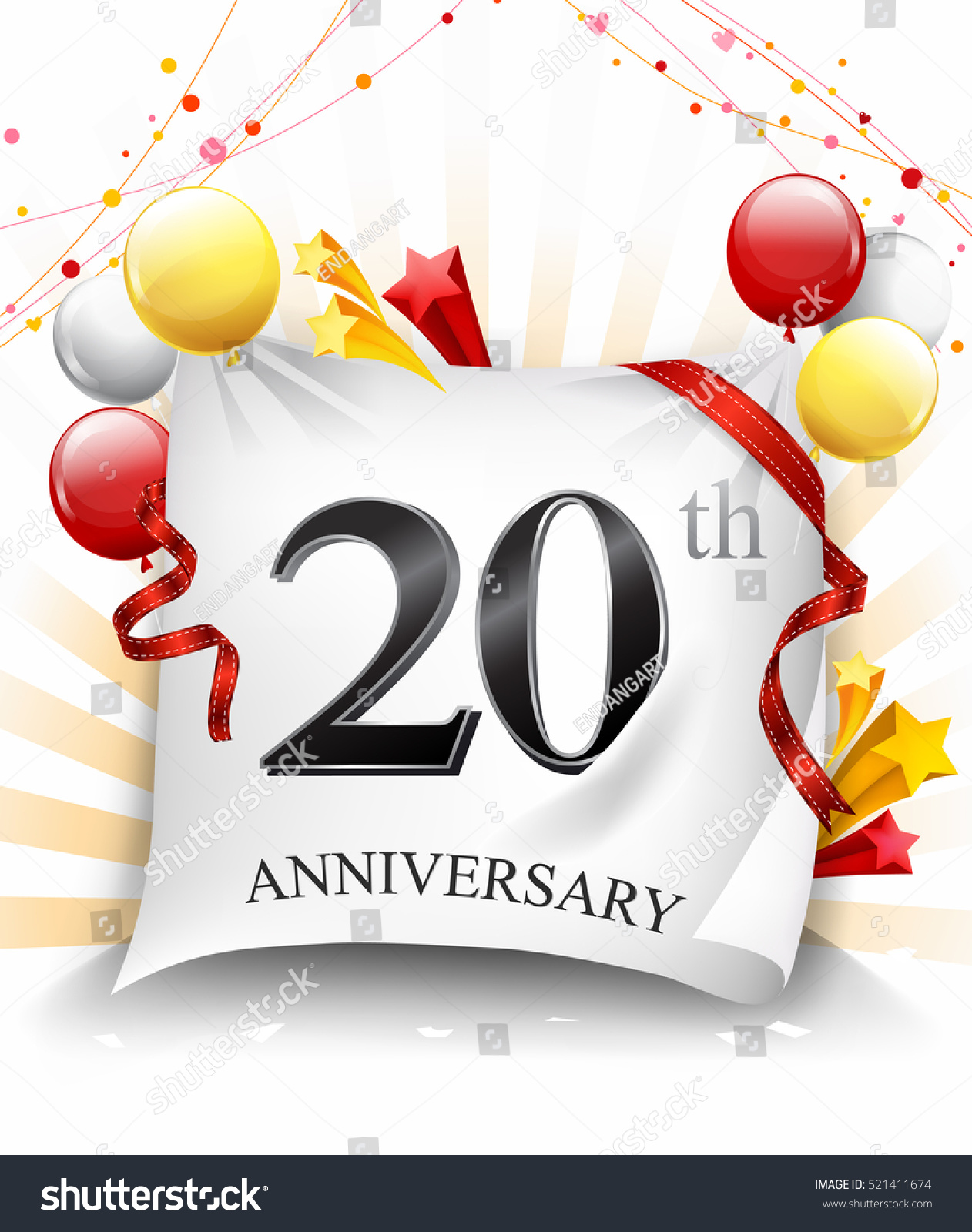 20 Years Anniversary Celebration Design On Stock Vector