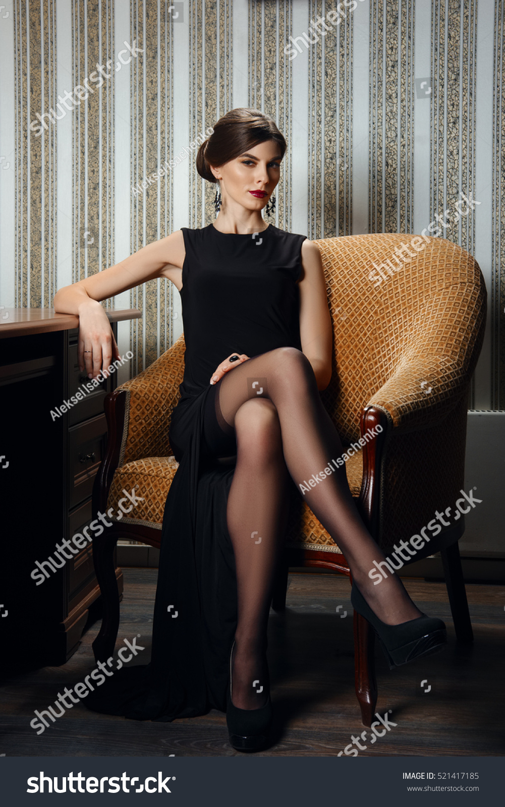 gorgeous lady elegant evening black dress stock photo (edit now