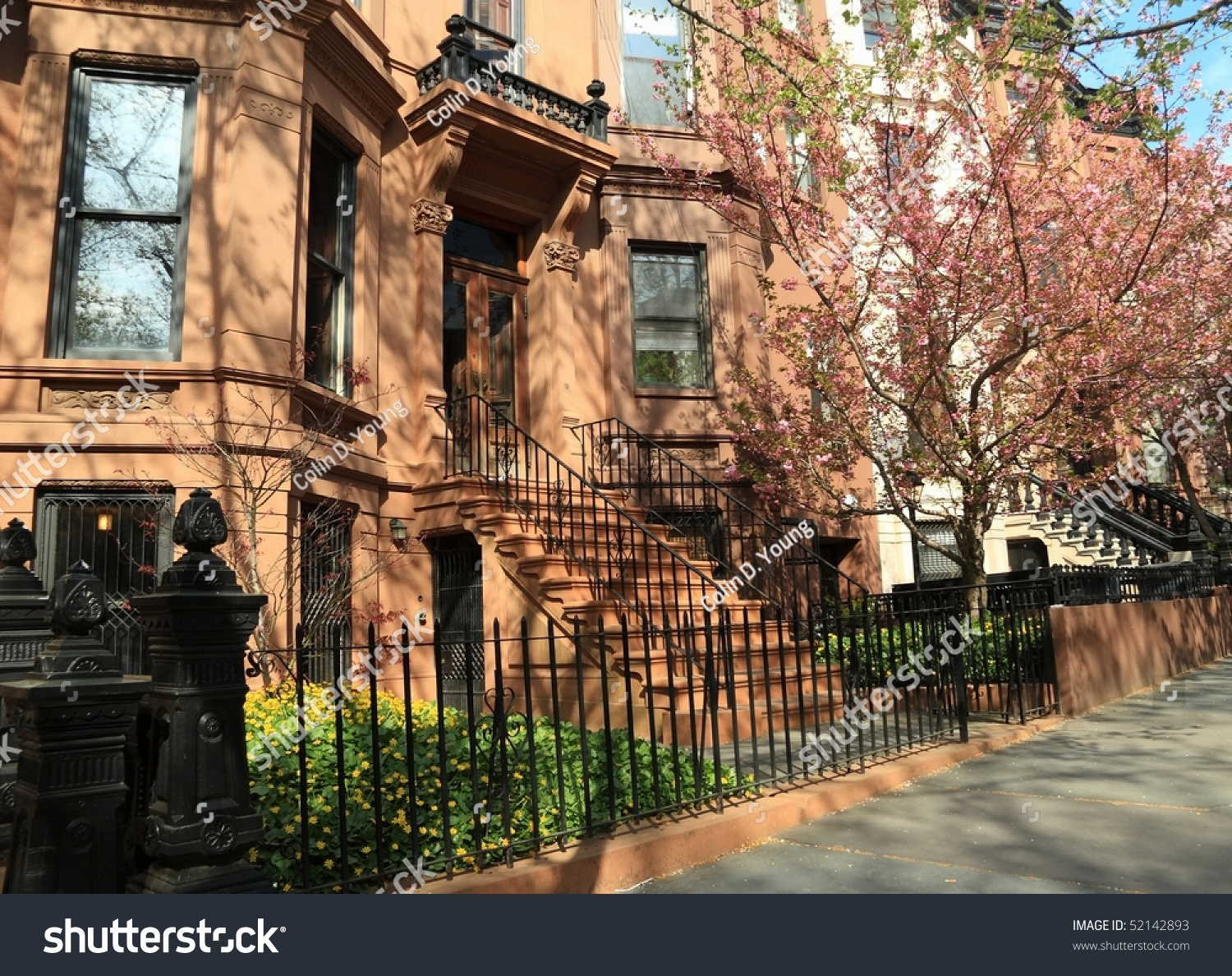Brownstone Apartment Building On Berkeley Place In Spring ...