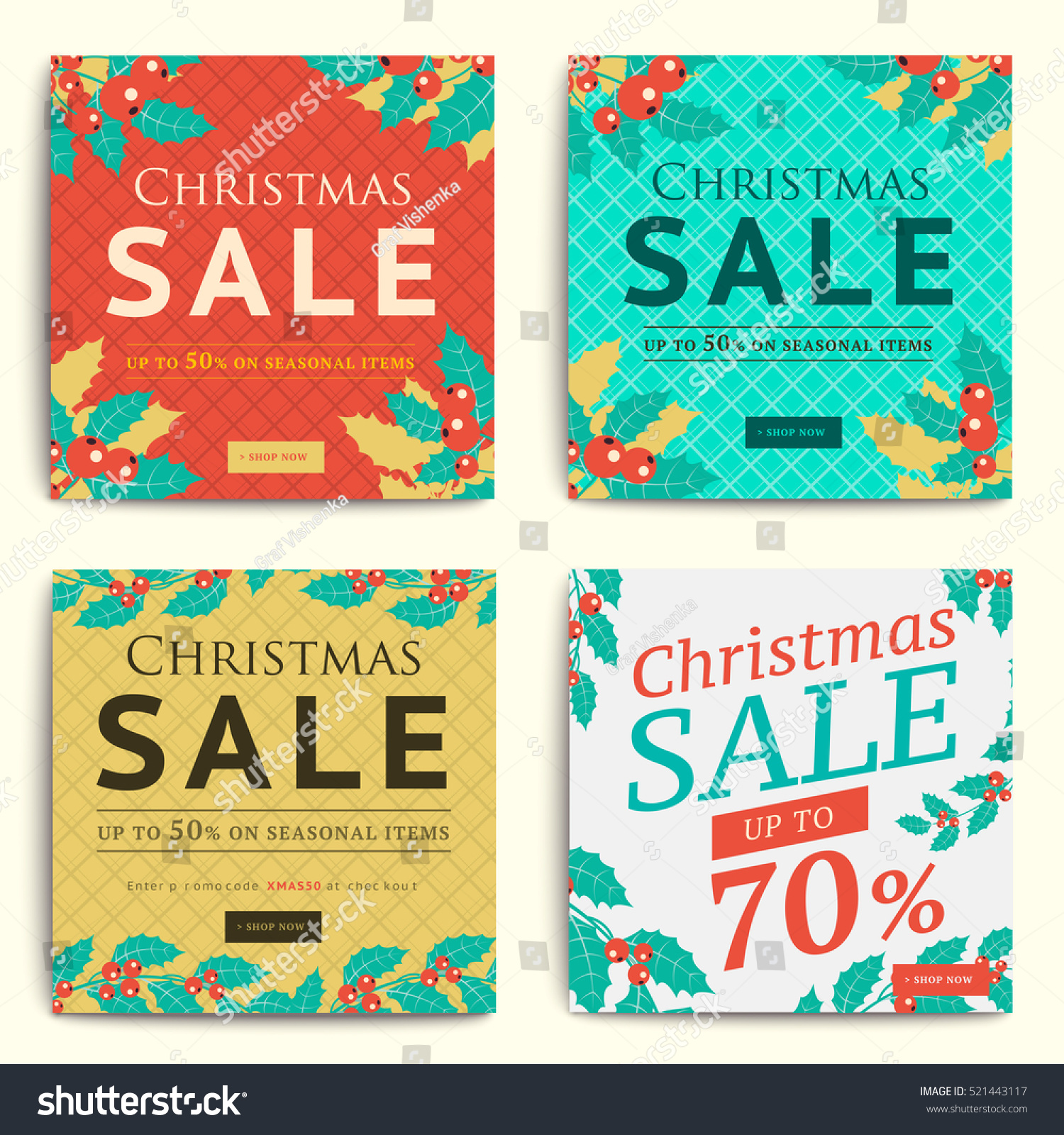 christmas social media sale banners mobile stock vector 521443117