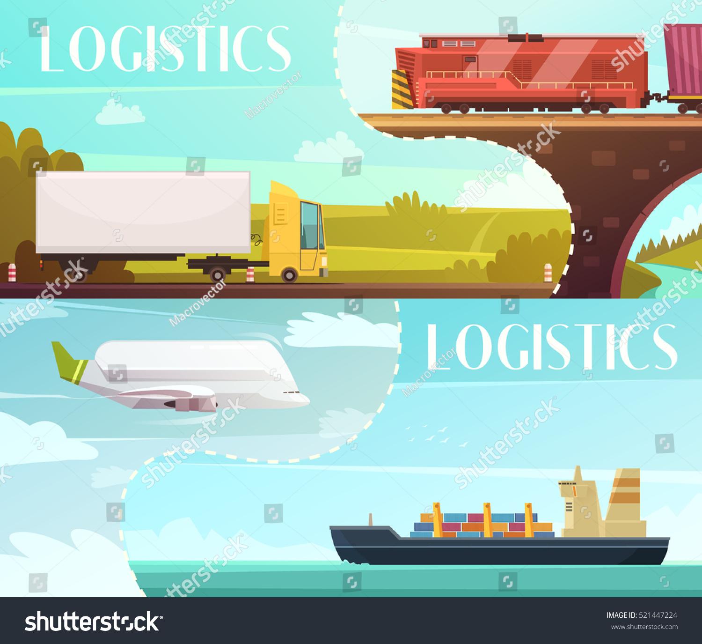 Logistics Calendar Design : Logistics cartoon horizontal banners set delivery stock