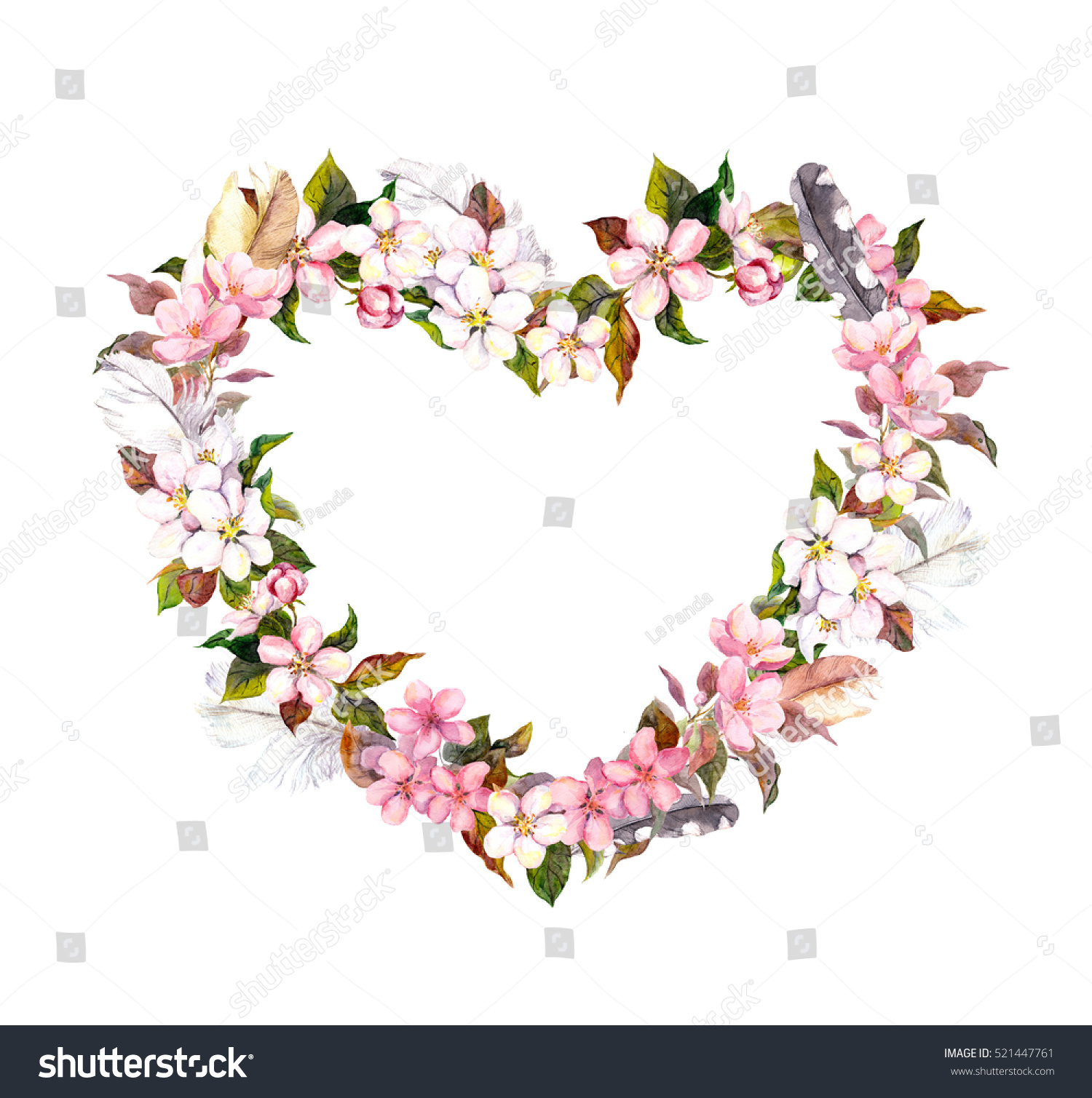Floral wreath heart shape pink flowers stock illustration 521447761 floral wreath heart shape pink flowers and feathers watercolor heart for valentine day mightylinksfo