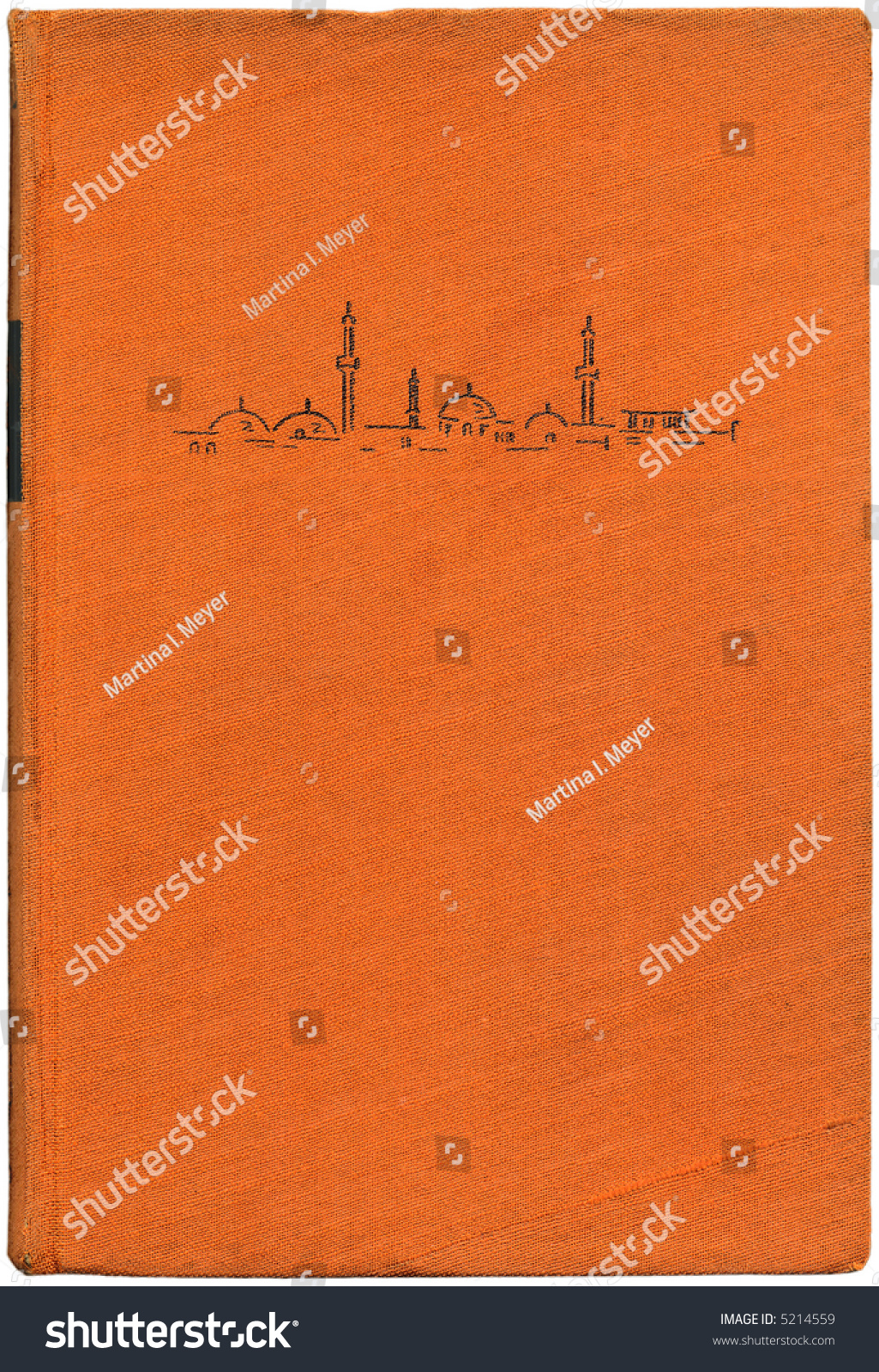 Vintage Book Cover Illustration : Vintage book cover bound in orange cloth with an